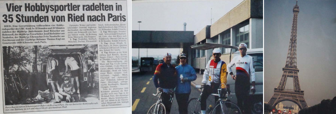 Hobbyradler Highlights: 1989: Ried – Paris 1050 km in 4 Tagen
